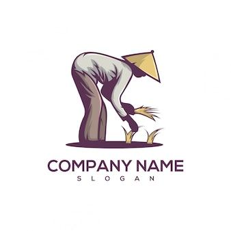 Logotipo de arroz de plantio