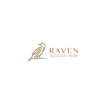 Logotipo de arte de linha de corvo de luxo