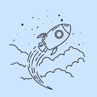 Logotipo de arte de linha de foguete