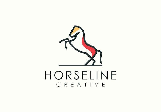 Logotipo de arte de linha de salto de cavalo