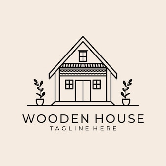 Logotipo de arte linha casa de madeira