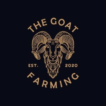Logotipo de arte linha fazenda cabra