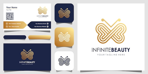 Logotipo de arte linha minimalista borboleta dourada
