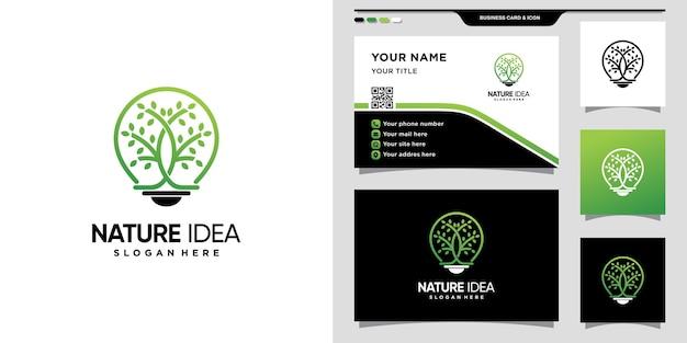 Logotipo de árvore e lâmpada com conceito moderno criativo e design de cartão de visita