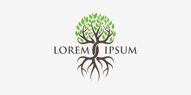 Logotipo de árvore e raízes. jardim verde