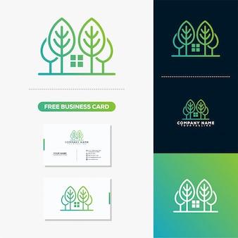 Logotipo de árvore em casa imobiliária e modelo de vetor de cartão