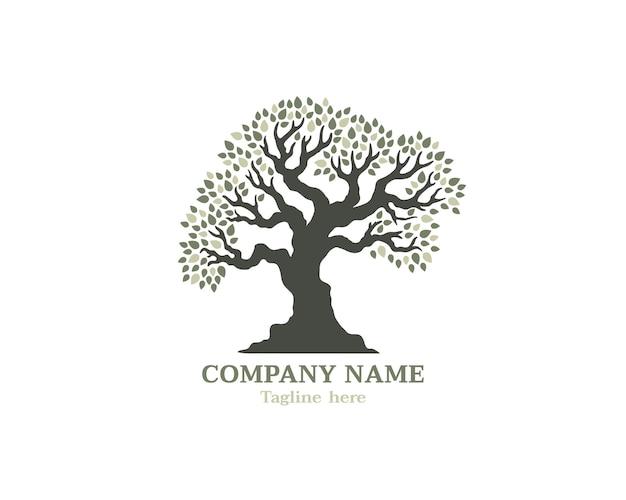Logotipo de árvore grande com folhas sombreadas