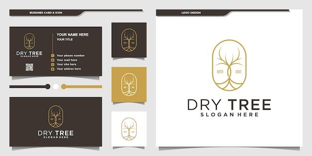 Logotipo de árvore seca minimalista com formato simples e design de cartão de negócios vektor premium