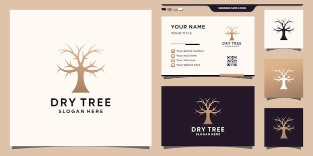 Logotipo de árvore seca simples e elegante com conceito quadrado e design de cartão de visita premium vector