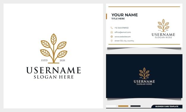 Logotipo de árvore simples com elegante estilo de arte de linha de folha e modelo de cartão de visita