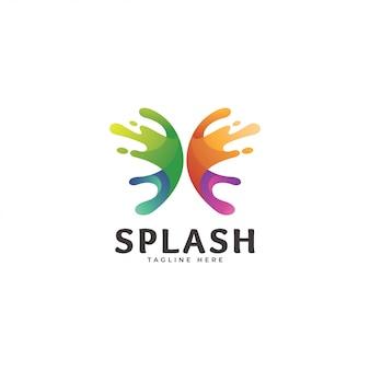 Logotipo de asa de cor de gradiente arco-íris resumo splatter