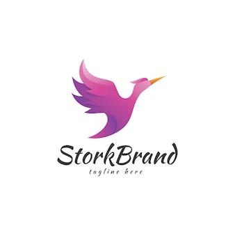 Logotipo de asa de pássaro de cegonha moderna cor gradiente