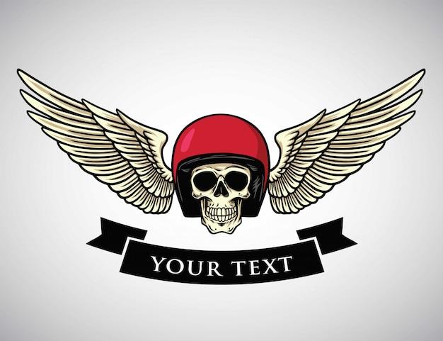 Logotipo de asas de capacete de caveira