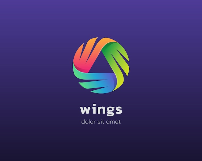 Logotipo de asas. logotipo de asas triplas coloridas