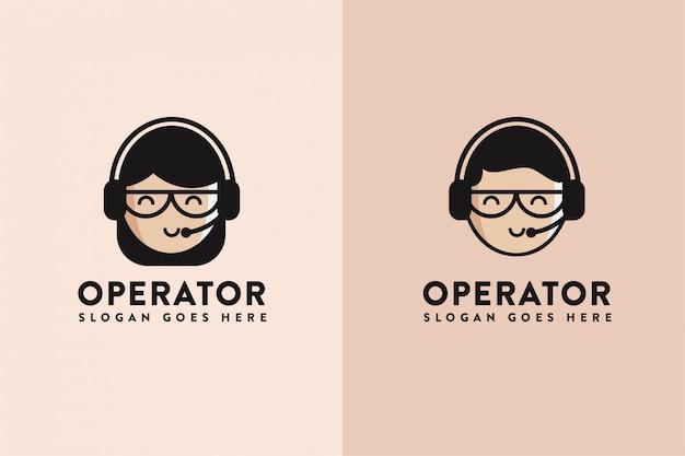 Logotipo de assistência do operador de desenho animado