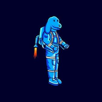 Logotipo de astronauta de cachorro
