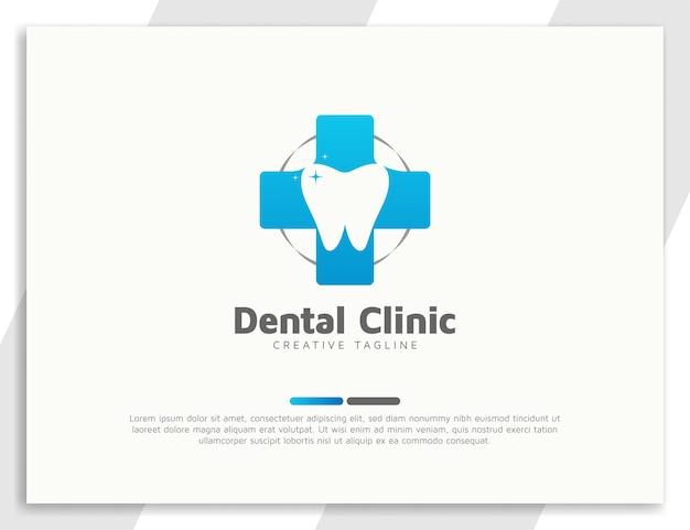 Logotipo de atendimento odontológico com símbolo médico