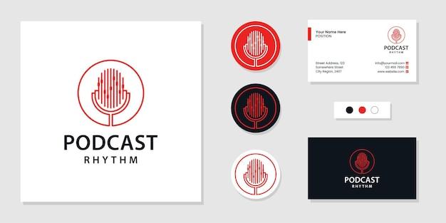 Logotipo de áudio de ritmo de podcast e inspiração de design de cartão de visita