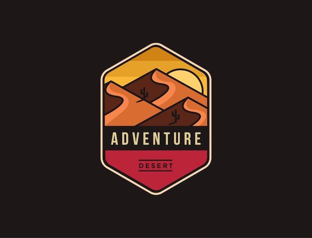 Logotipo de aventura abstrata minimalista paisagem desértica
