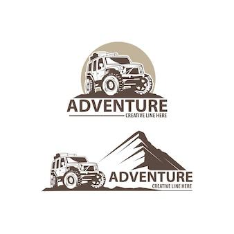 Logotipo de aventura com carro jipe
