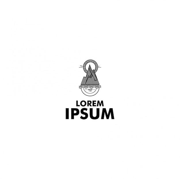 Logotipo de aventura de arte de linha