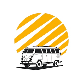Logotipo de aventura de carro, carro de silhueta