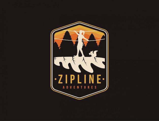 Logotipo de aventuras de esporte de tirolesa