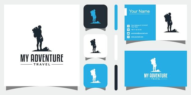 Logotipo de aventureiro de silhueta premium vector