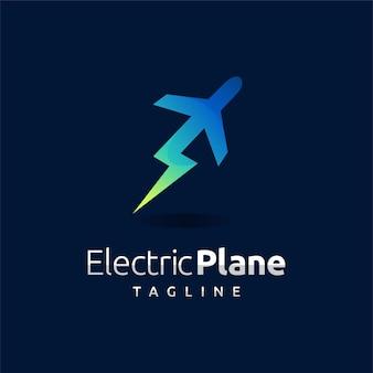 Logotipo de avião elétrico com conceito de trovão