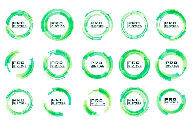 Logotipo de bactérias probióticas. prebiotic, lactobacillus. médico