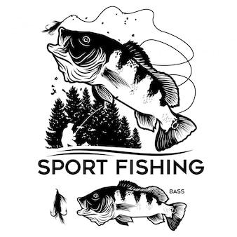 Logotipo de baixo de pesca esportiva