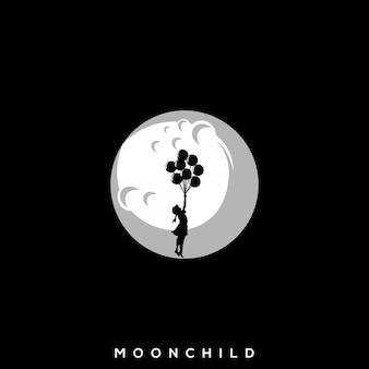Logotipo de balão criança lua