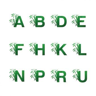 Logotipo de bambu verde em letra alfabética