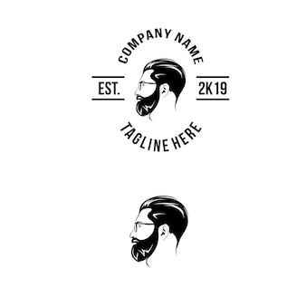 Logotipo de barba do lado