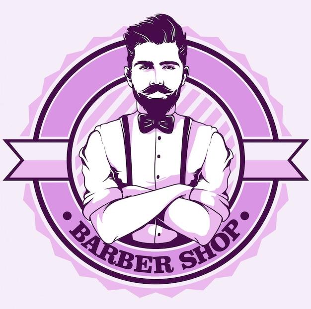 Logotipo de barbearia com cavalheiro
