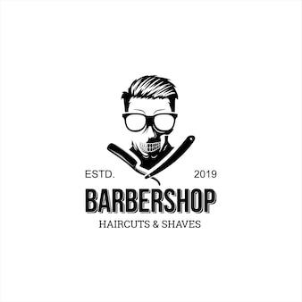 Logotipo de barbearia divertido vintage