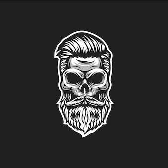 Logotipo de barbeiro caveira