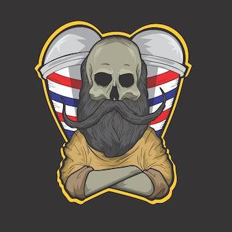 Logotipo de barbeiro de caveira