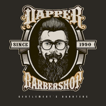 Logotipo de barbeiro desenhado a mão no estilo vintage