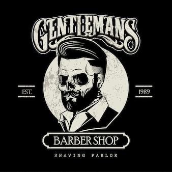 Logotipo de barbeiro preto e branco