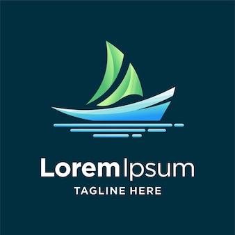 Logotipo de barco à vela com conceito de cor gradiente