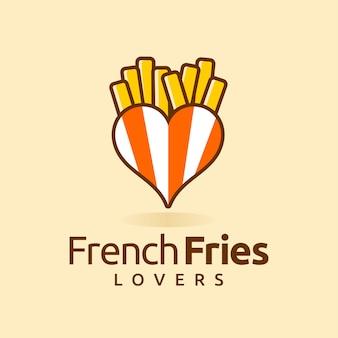 Logotipo de batata frita com conceito de amor