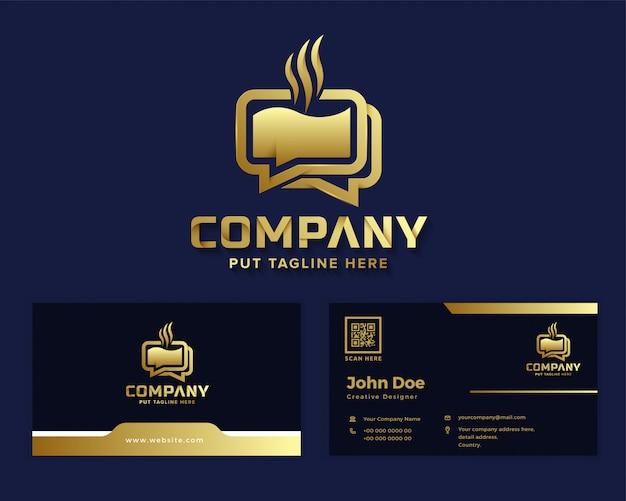 Logotipo de bate-papo de café de luxo premium para empresa de negócios