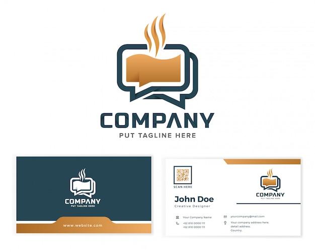 Logotipo de bate-papo de café para empresa de negócios