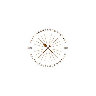 Logotipo de bebida comida, restaurante de estilo vintage e café bar