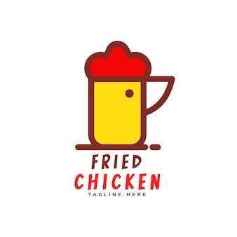 Logotipo de bebida e frango frito