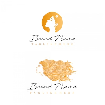 Logotipo de beleza com foto de mulher bonita do lado