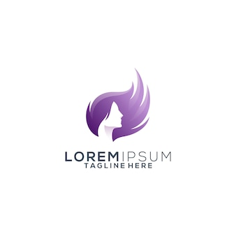 Logotipo de beleza de cabelo colorido