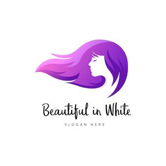 Logotipo de beleza de cabelo comprido, logotipo gradiente de salão de cabeleireiro feminino