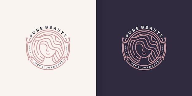Logotipo de beleza de mulher com estilo de arte de linha criativa premium vector parte 1